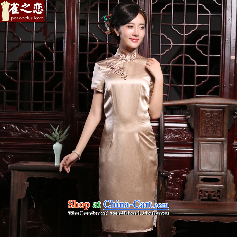 Love of birds on the?Fall 2015 line of daily improved stylish silk Silk Cheongsam Sau San QD873 champagne color?S