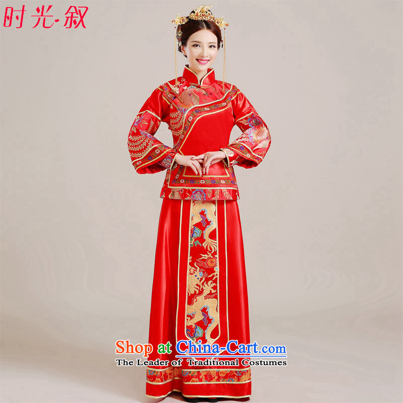 Time the爊ew 2015-soo Syrian Wo Service qipao bride wedding gown marriage bows services fall embroidery Phoenix Chinese Dress large wedding pregnant woman with red燲s