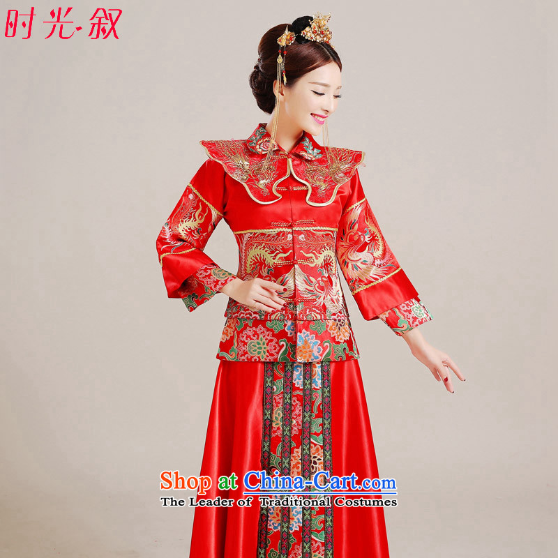 Use the dragon and the Syrian time qipao gown marriages Sau Wo Service bows marriage solemnisation services red Chinese wedding wedding dress autumn Women's clothes Bong-Koon-hsia costume clothing red?L previous Popes are placed.