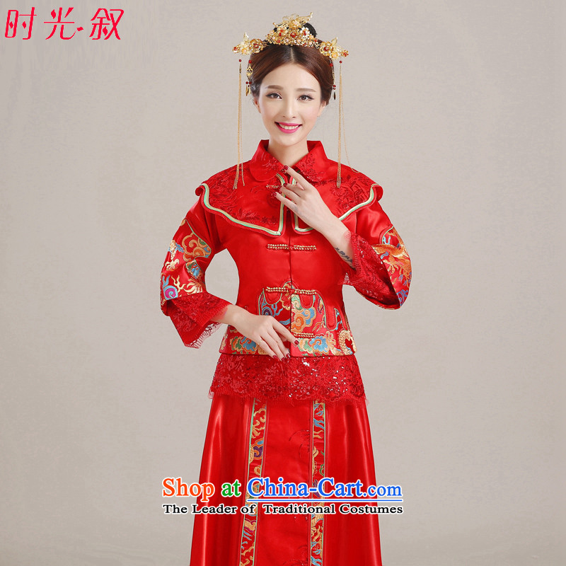 Miss Cyd Wo Service Time Syrian brides dress red Chinese Antique bows to the autumn and winter wedding dress qipao Soo kimono longfeng marriage use red?S