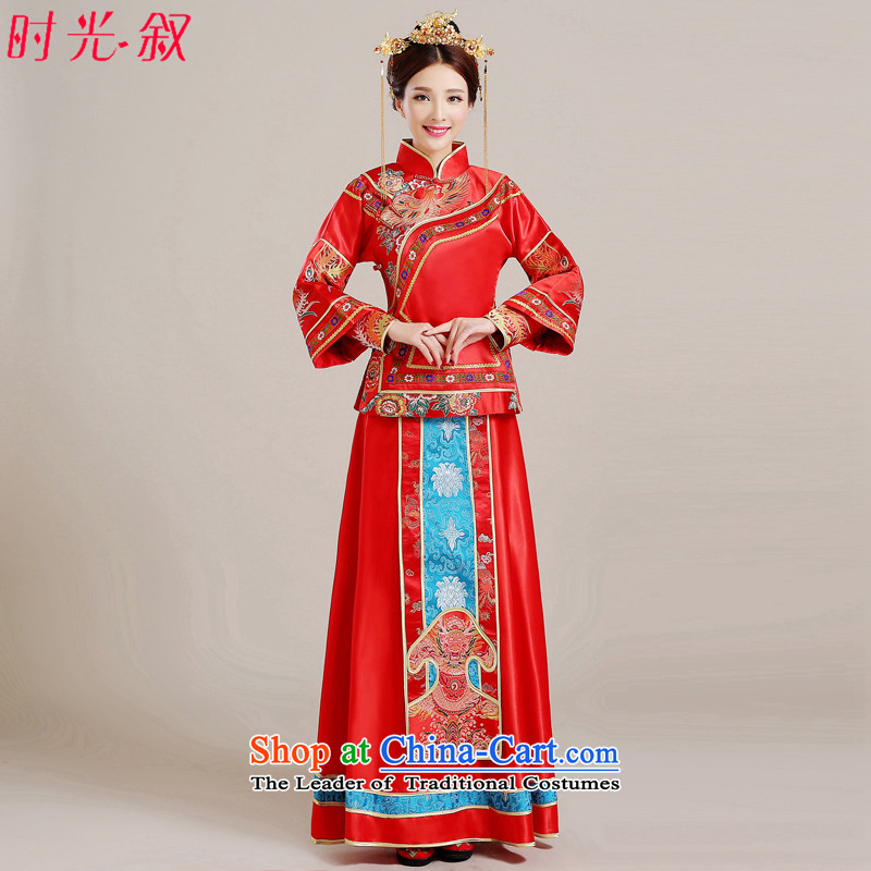 Time Syrian Chinese style wedding-soo wedding gown Wo Service Bridal pregnant women married long-sleeved red qipao gown longfeng use toasting champagne costume red S