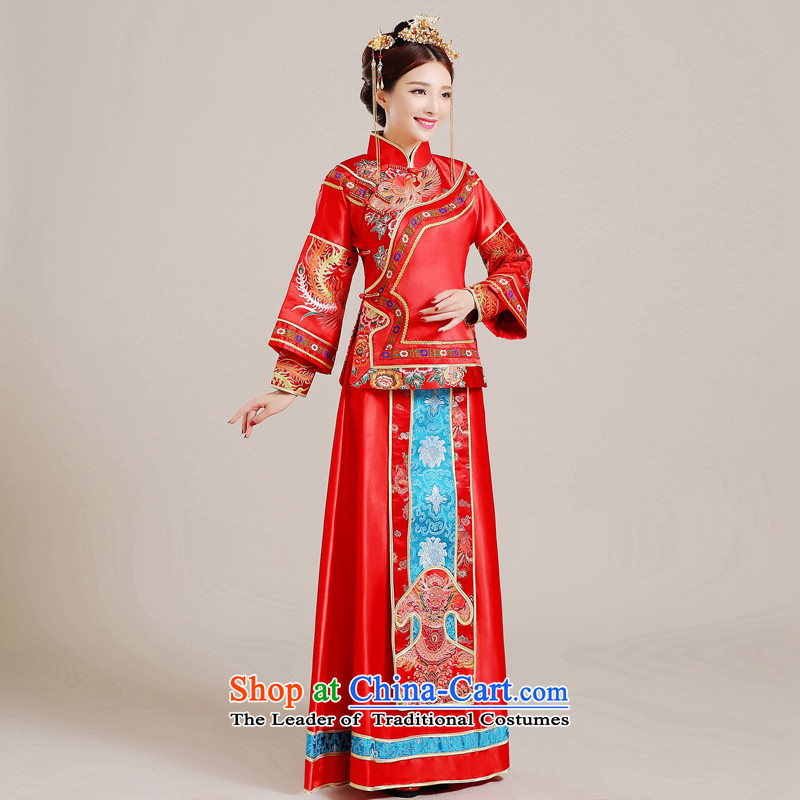 Time Syrian Chinese style wedding-soo wedding gown Wo Service Bridal pregnant women married long-sleeved red qipao gown longfeng use toasting champagne costume red聽S, Syria has been pressed time shopping on the Internet