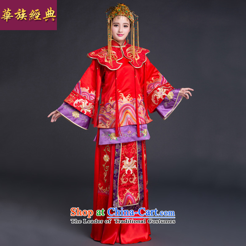 Chinese New Year 2015 classic ethnic wedding dresses Sau Wo Service services to the Dragon Chinese use bows married long-sleeved gown autumn red XL