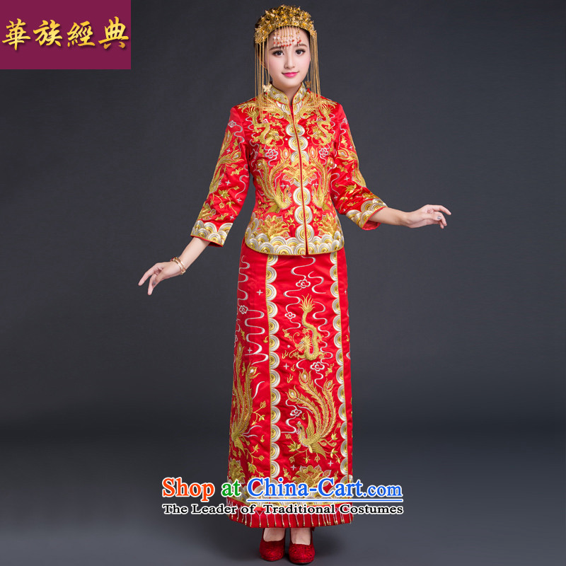 Chinese classic 2015 retro-Chinese ethnic bows Service Bridal Sau Wo service use the dragon wedding dresses cheongsam red?S