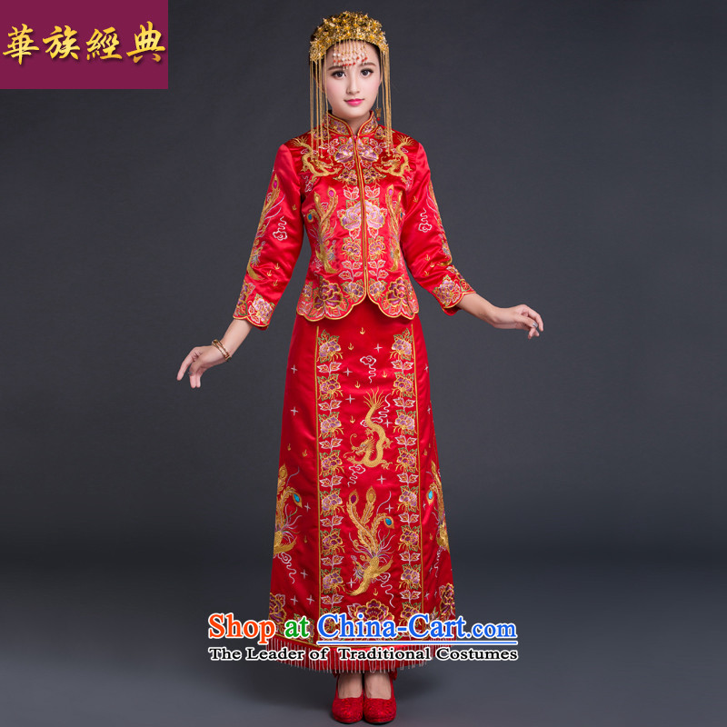 Chinese Ethnic Groups Show Services Chinese classic bridal dresses red Chinese Antique bows to the autumn and winter wedding dresses and Phoenix use autumn red燣