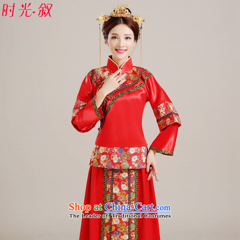Time Syrian Chinese style wedding-soo wedding gown Wo Service Bridal pregnant women married to large red long-sleeved gown dragon costume qipao bows use RED燤