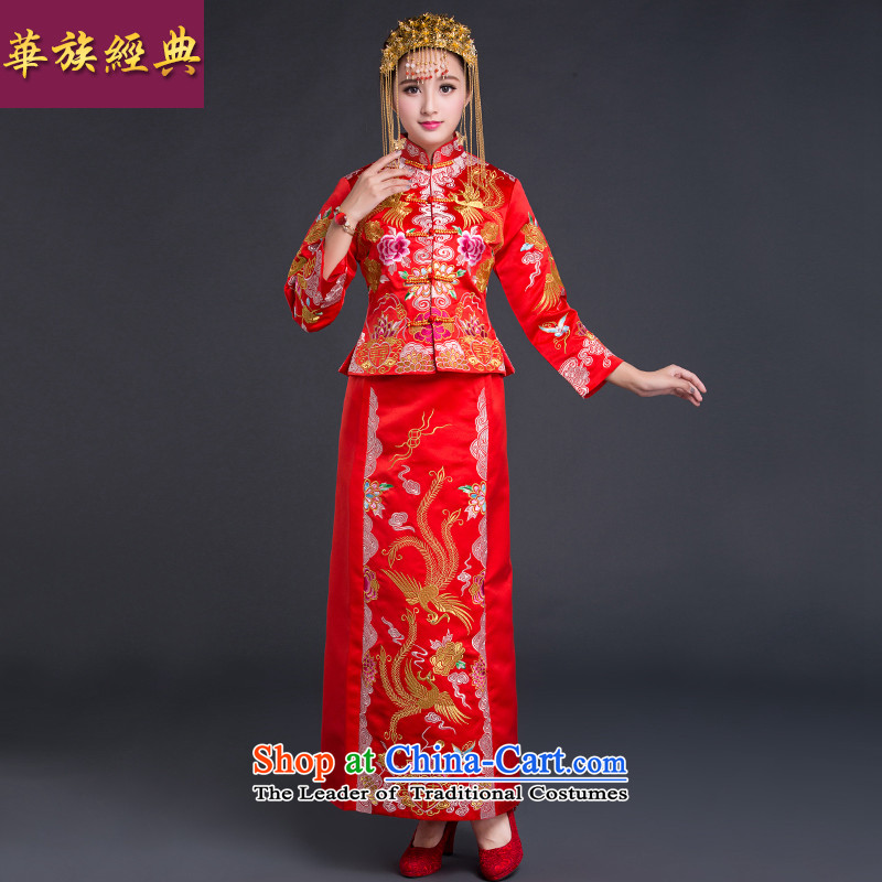 China-soo kimono bride Chinese classic wedding dress autumn 2015 new red bows services use red dragon wedding gown L