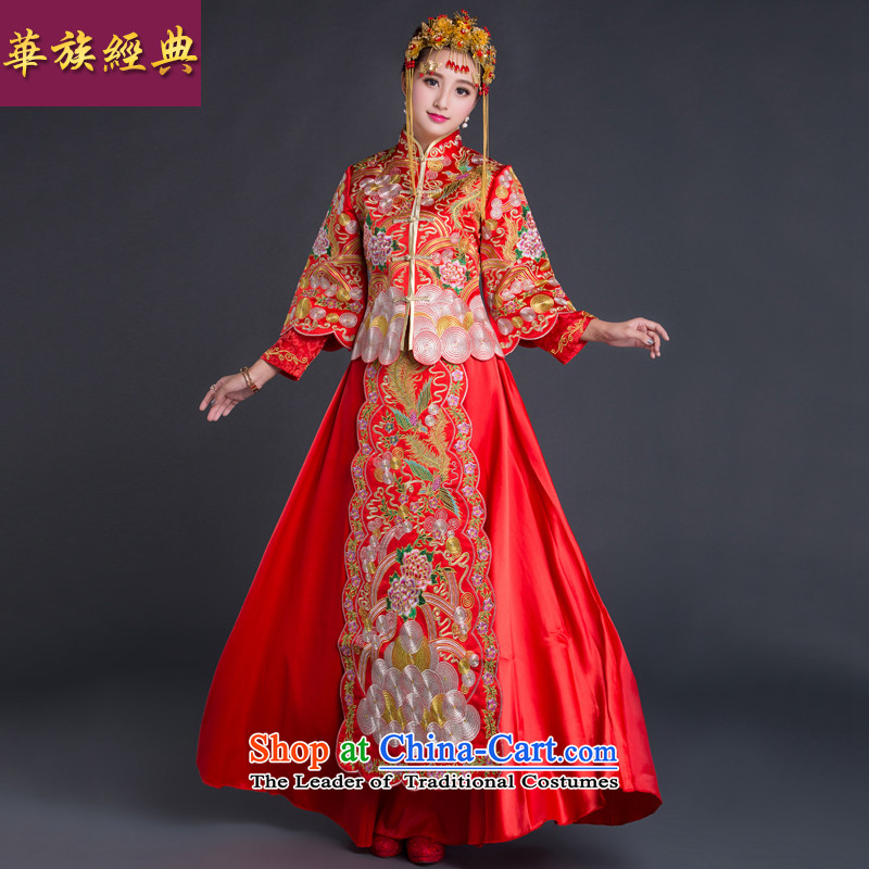 Chinese New Year 2015 classic-soo Wo Service married women dress wedding dress cheongsam dress Chinese style wedding retro red?XL