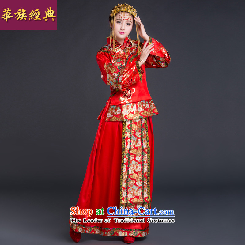 Chinese New Year 2015 classic-soo Wo Service Bridal wedding dresses Chinese wedding services wedding gown toasting champagne red cheongsam red L