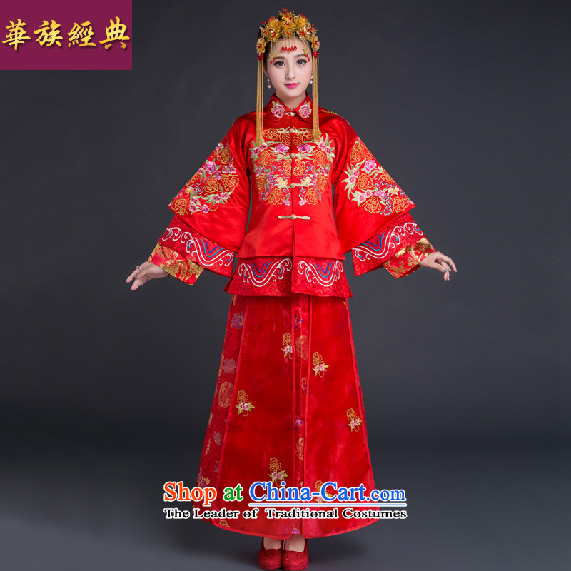 Chinese New Year 2015-Classic Wedding dress bride CHINESE CHEONGSAM red bows to the marriage of autumn and winter female red燬