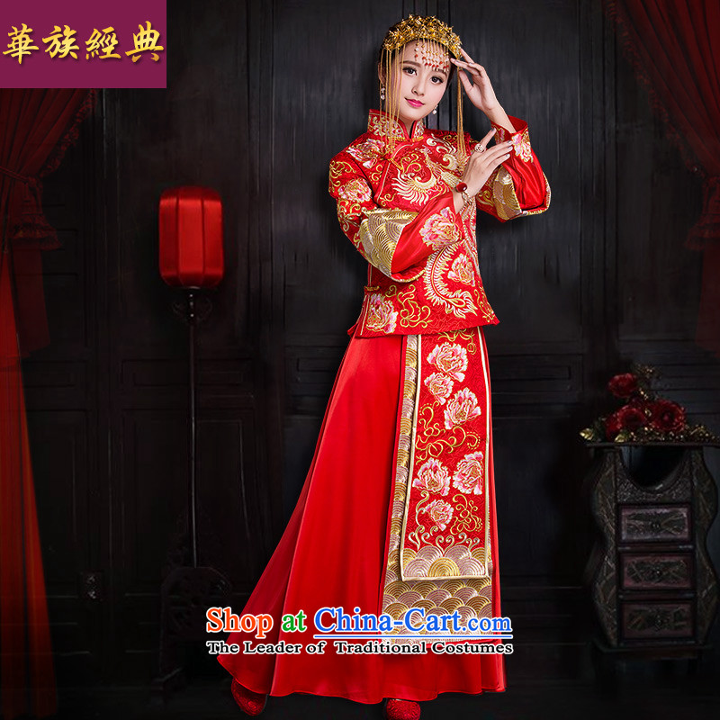 China Ethnic Classic Cherrie Ying Sau Wo Service Ancient Chinese wedding dresses bows Service Bridal Wedding Gown In Tang Dynasty retro red S