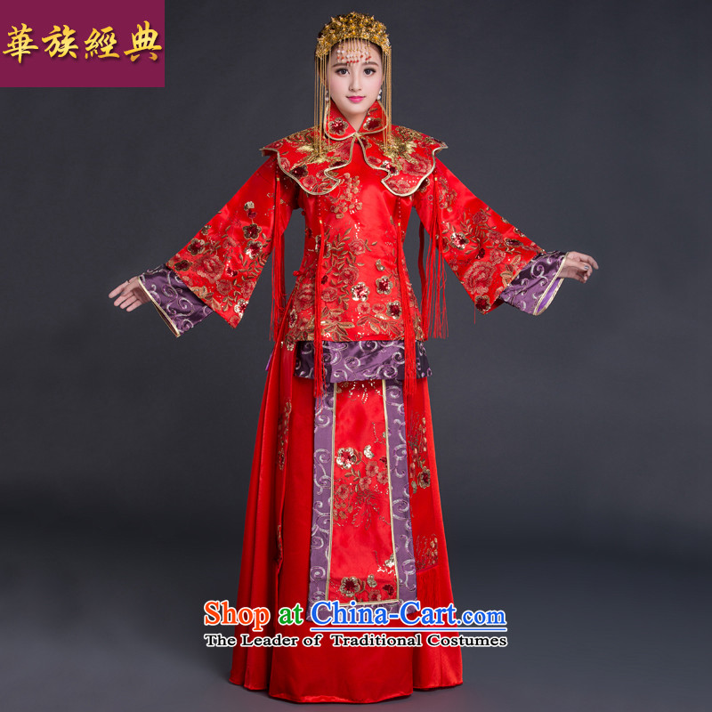 2015 New Chinese style wedding bride-soo wo service use pregnant women video thin dragon larger bows to marry qipao autumn red XL