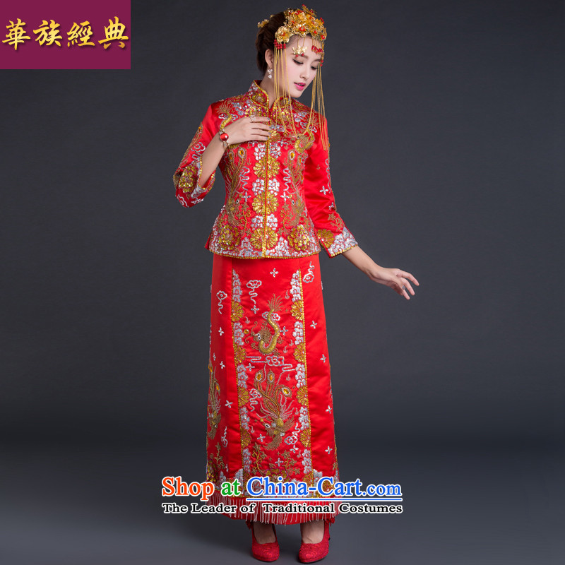 China Ethnic Chinese classic retro married women dress-hi-soo wo service Tang dynasty qipao bows services wedding gown autumn and winter red?L