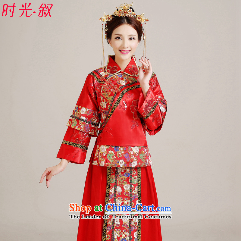 Miss Cyd Wo Service Time Syrian brides dress Soo kimono costume bride wedding dress Chinese style wedding services marriage qipao costume bows clothing female red聽XS