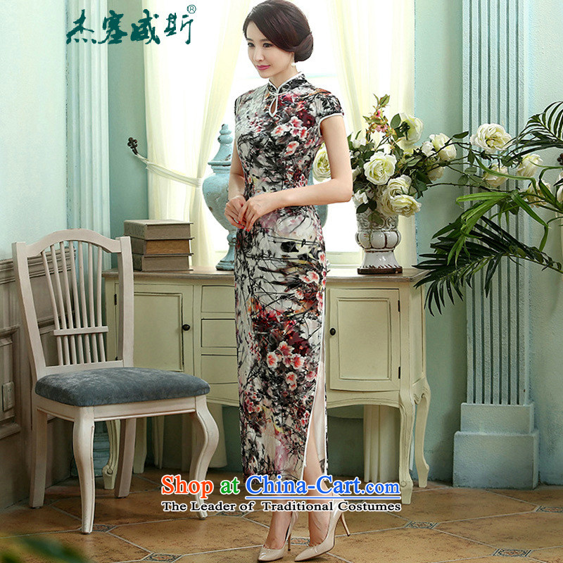 In the new kit, spring and autumn female decorated in a mock-neck really improved long qipao velvet dresses?T0004-a black?XXL