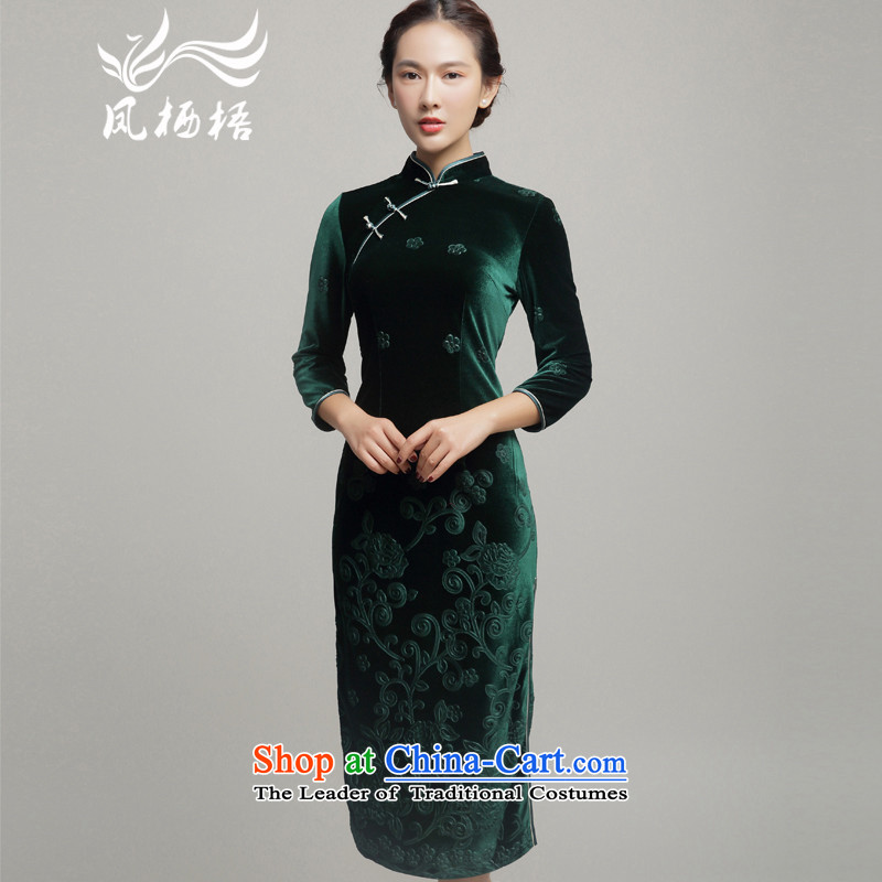 7475 2015 Autumn Fung migratory new really long qipao retro Wool Velvet cheongsam dress skirt DQ15211 upscale emerald-燲L