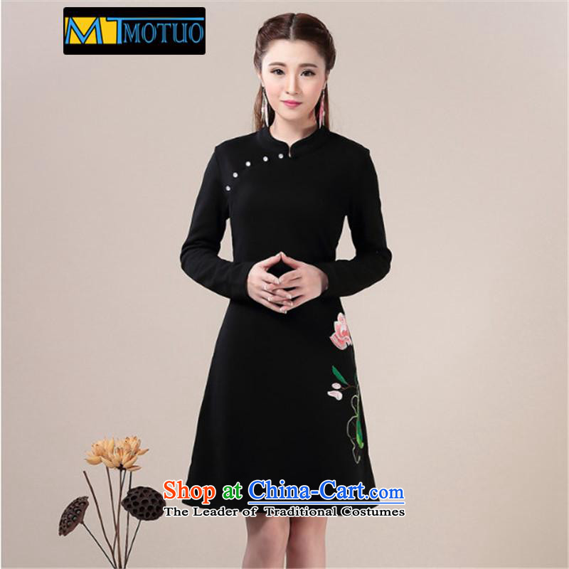 Magic topology 2015 Fall/Winter Collections qipao skirt forming the improvement of Ms. skirt video thin Sau San long-sleeved dresses qipao black�M