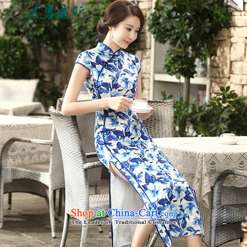 In the new kit, women's daily retro spring and autumn Silk Cheongsam collar is mine-long Sau San, qipao dresses female?C0014 BLUE?L