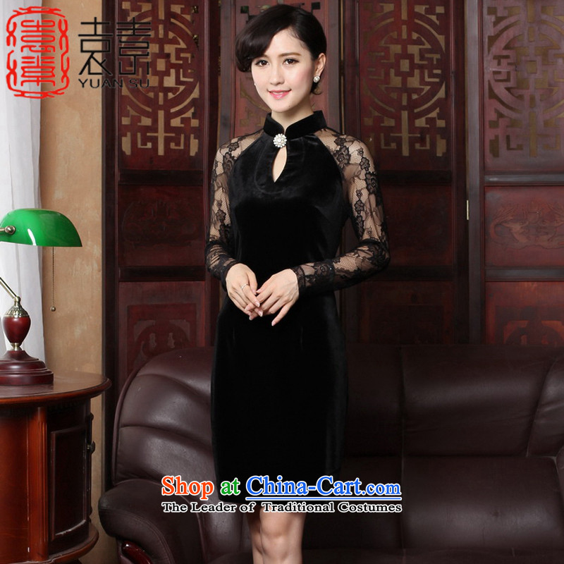 Yuan of爀legant qipao confidant 2015 retro improved dresses long-sleeved lace stitching cheongsam dress Ms. new dresses and sexy燳3319燽lack燤