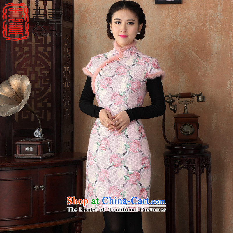 Mr Yuen so spent?2015 Fall/Winter Collections of hunan valin retro hair? qipao gross for a mock-neck short-sleeved thick cheongsam dress new improved cheongsam dress?Y3228?pink?L