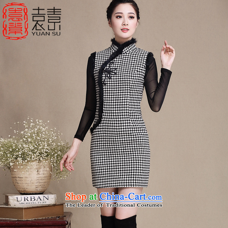 Yuan of thousands of birds,?2015 winter clothes for improved day-to-gross qipao cheongsam dress new Stylish retro-thick cheongsam dress?Y3222?picture color?XL