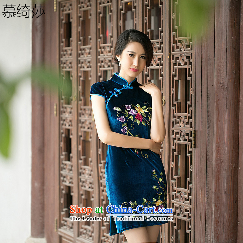 The cross-SA 3 it takes?2015 Spring Summer scouring pads embroidered improved daily cheongsam dress collar cheongsam dress?photo color?3XL ZA 085