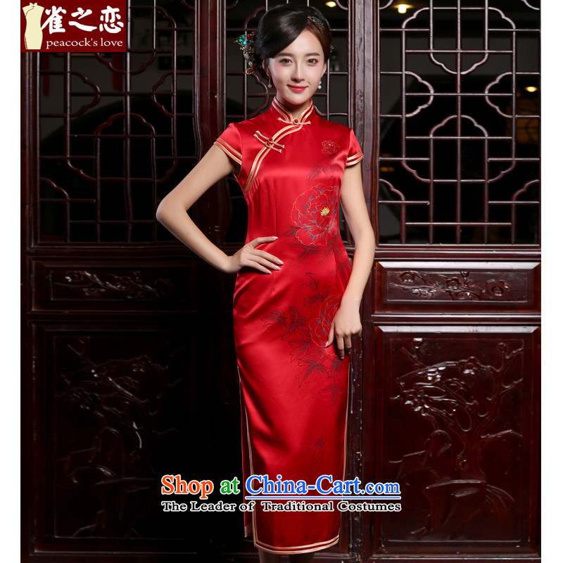 Love of birds embroidered corner animation candle in the? autumn 2015 new products perpetuates the hand-painted heavyweight Silk Cheongsam QC860 stylish large red?S