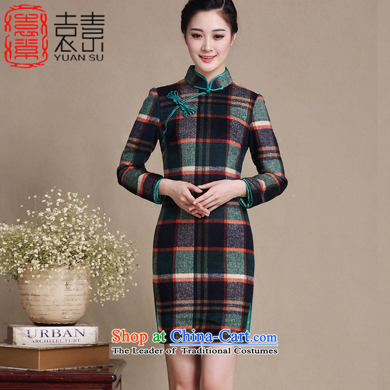 Yuan of suspension of new long-sleeved qipao? Boxed autumn gross retro style qipao skirt new grid, improved cheongsam dress?Y3221?grid color?XXL