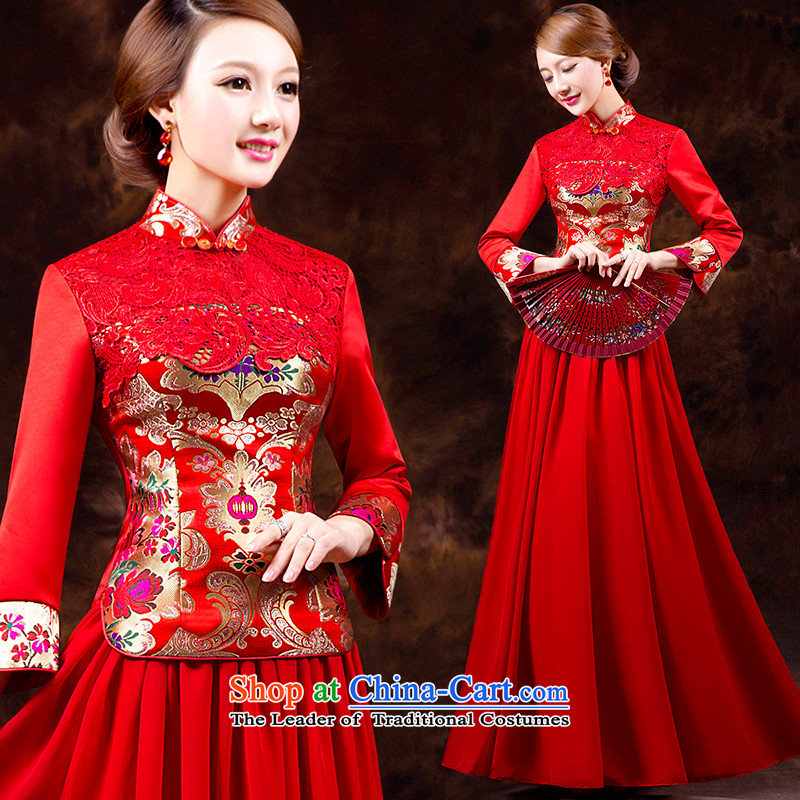 Toasting champagne qipao services 2015 autumn and winter long-sleeved long service Red Beauty bride bows embroidery lace marriages bows services back door red dress red聽PUERTORRICANS waist 2.0_