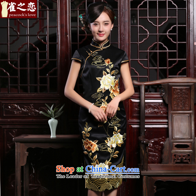 Love of birds ink bush燼utumn and winter 2015 New Chinese Antique style heavyweight silk embroidery cheongsam dress QD921 figure燲L