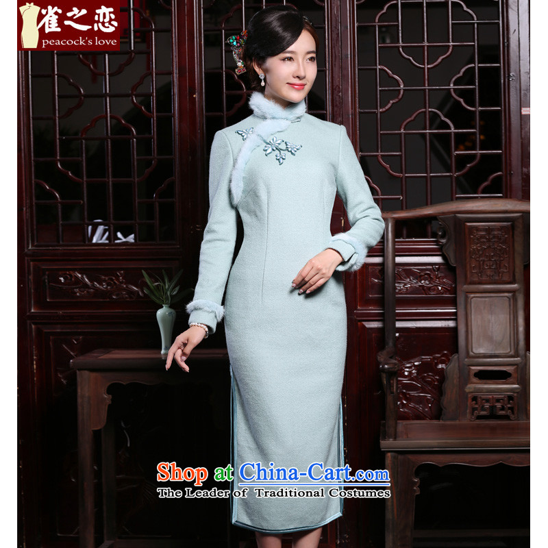 The birds if License Pack new autumn 2015 improved gross? long-sleeved qipao stylish rabbit hair decorations long skirt�QC876 qipao�figure�M