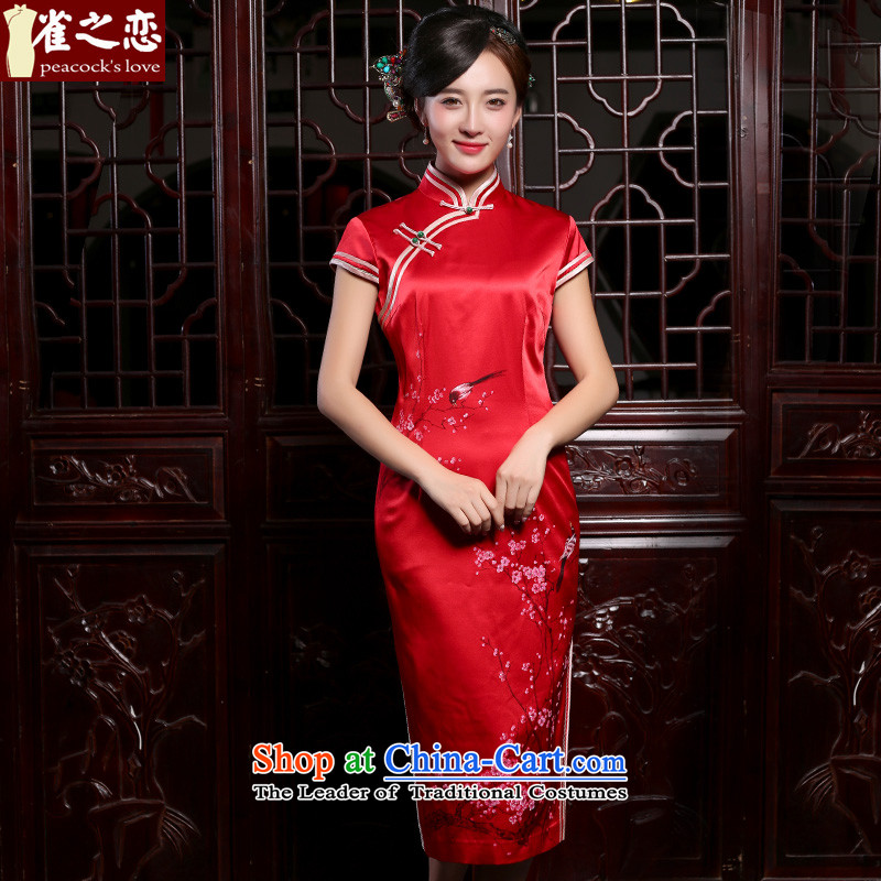 Love of birds look very happy聽intuition of new products in the autumn 2015 hand-painted silk cheongsam dress red long marriage聽QD829聽large red聽XL