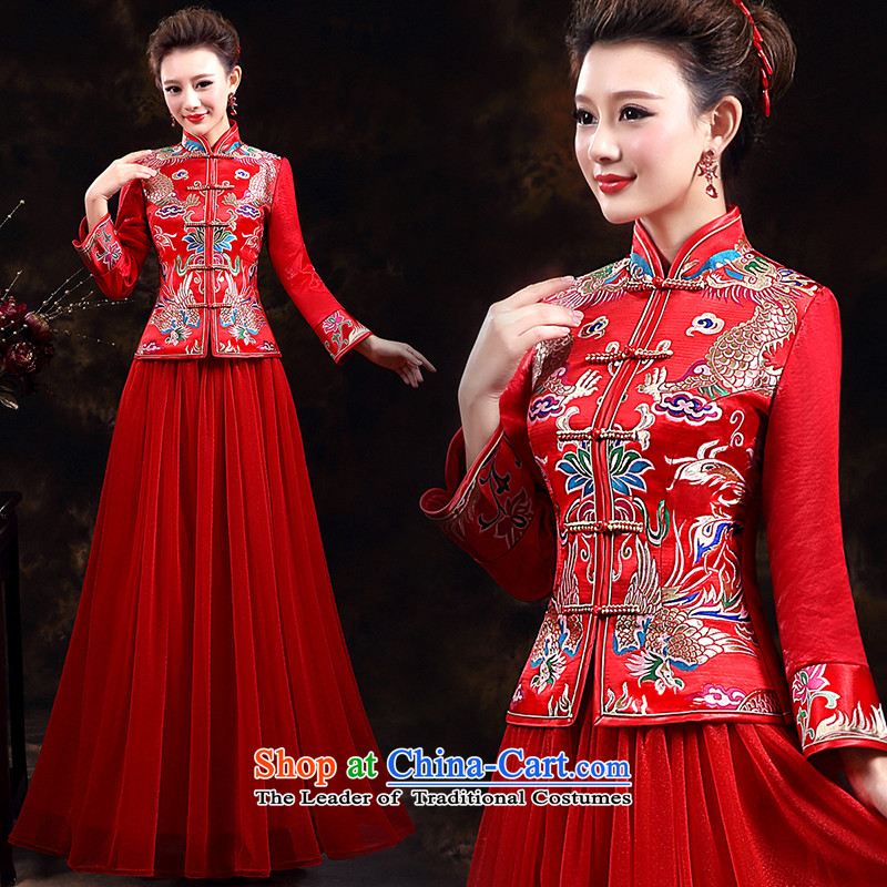 Wedding dress qipao 2015 autumn and winter new long-sleeved qipao gown brides long service improvement qipao qipao bows red PUERTORRICANS waist 2.0_