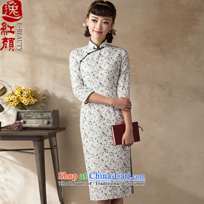 A Pinwheel Without Wind recalled that Chi Yat new cheongsam 2015 Summer 7 cuff cheongsam dress ethnic retro autumn_ qipao Doi green?XL