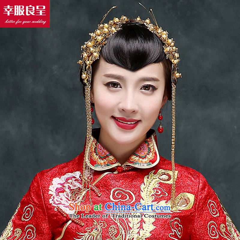 Sau Wo service to the dragon use autumn and winter bridal dresses ancient Chinese wedding gown wedding long marriages bows to the girl-soo Wo Service + Head Ornaments聽2XL