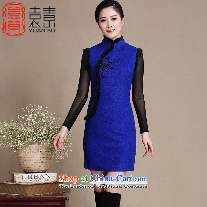 The world of�2015 yuan of autumn and winter load gross qipao Stylish retro improvement? cheongsam dress new gross for thick cheongsam dress female�Y3198�Blue�M