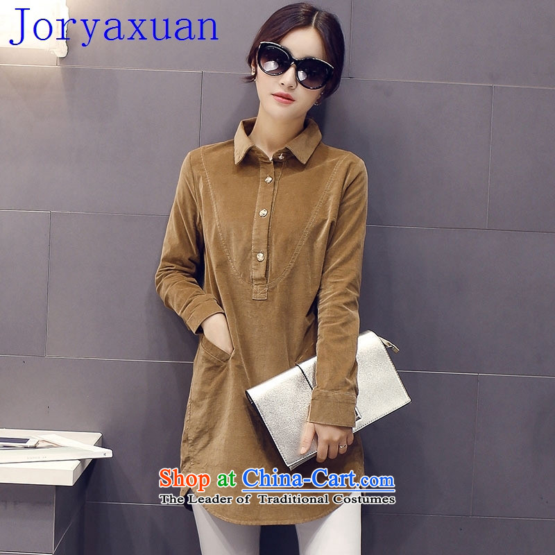 Deloitte Touche Tohmatsu sunny autumn replacing Korean shop ladies casual stylish solid color minimalist lapel long-sleeved T-shirt rust L