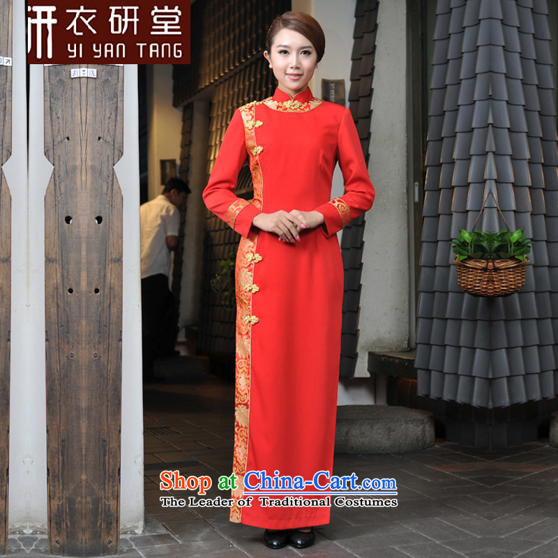 Yi Tong at the reception of the hotel's clothing Fall_Winter Collections female reception courtesy service qipao female Chinese Tang dynasty women?S red