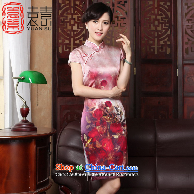 Yuan of red Yui heavyweight Silk Cheongsam with Stylish retro-chiu improved cheongsam dress herbs extract cheongsam dress?T3186 new?picture color?XXXL