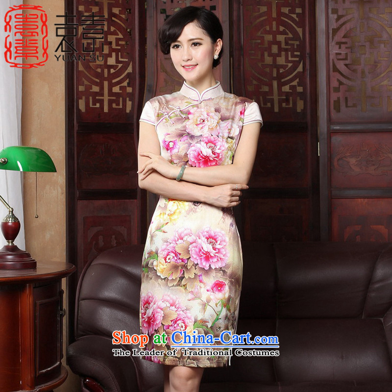 Yuan of Mudan?2015 heavyweight Silk Cheongsam with retro improved qipao autumn dresses silk cheongsam dress?T3185 Ms.?picture color?M