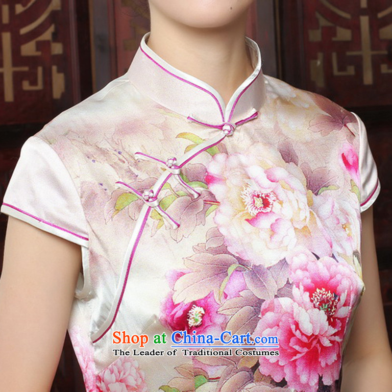 Yuan of Mudan 2015 heavyweight Silk Cheongsam with retro improved qipao autumn dresses silk cheongsam dress T3185 picture color M, Ms. Anita Yuen (YUAN SU shopping on the Internet has been pressed.)