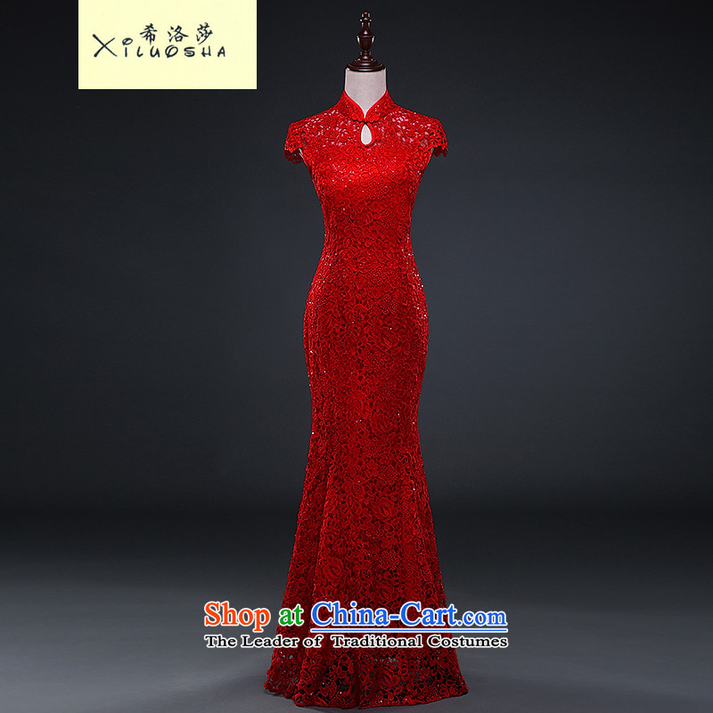 Hillo Lisa _XILUOSHA_ Marriage cheongsam dress lace wedding female bride bows to the winter of 2015, Sau San crowsfoot new thick red S