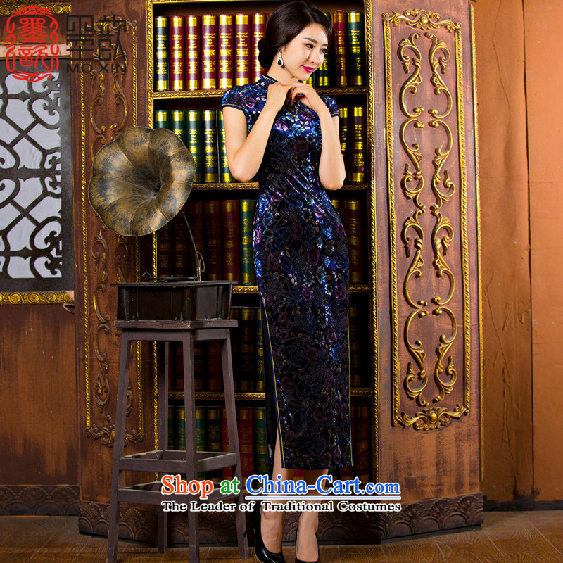 The visit to the cloud 2015 Kim ? scouring pads installed MOM pack qipao autumn in the elderly in the long cheongsam dress new retro look long qipao TZM01 DARK BLUE XXL