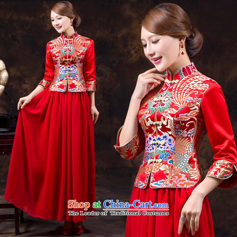 Wedding dress qipao autumn and winter new long-sleeved long serving Chinese-bride bows wo service long-sleeved qipao autumn wedding dress long red?L waist 2.2)