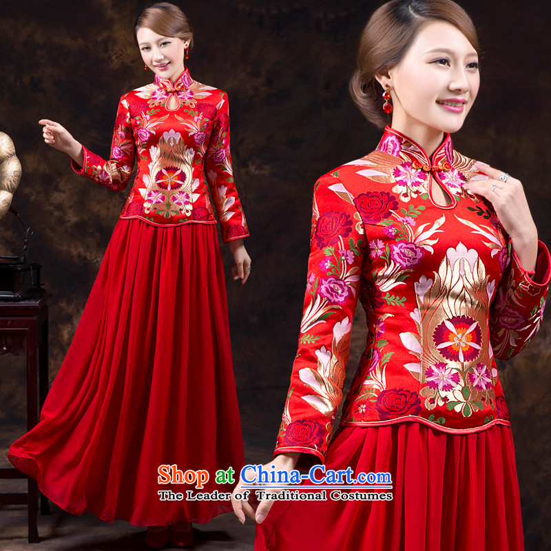 Wedding dress qipao new bride autumn and winter clothing Chinese Soo-reel bows to the fall of long-sleeved qipao wedding dress long red red L waist 2.2_