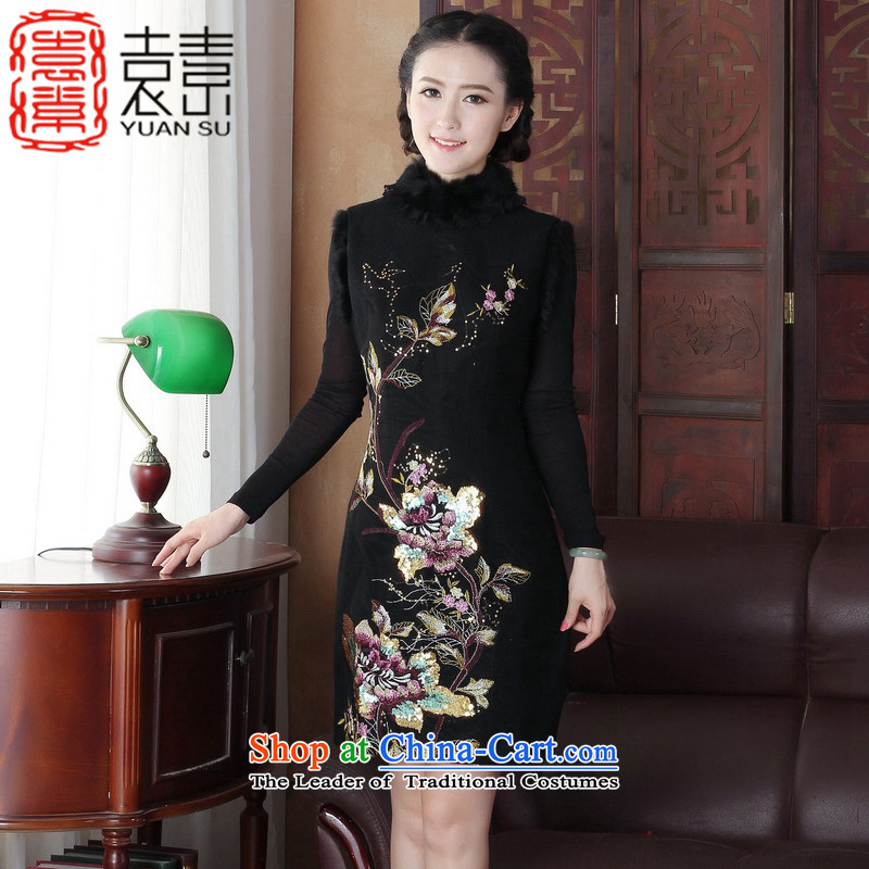 Yuan of?2015 alone Fall_Winter Collections thick hair? cheongsam dress water Sable Hair for improved cheongsam embroidery on chip cheongsam dress?Y3165?black?M