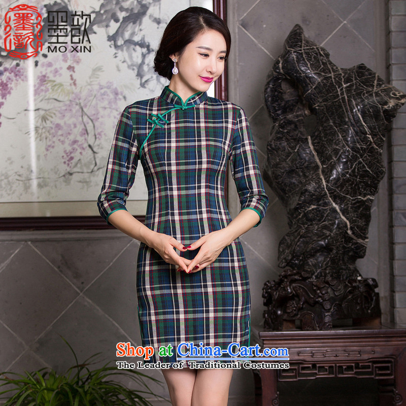 Ink 歆?qipao autumn 2015 also Tsing replace retro new improvements qipao skirt in Ms. cuff latticed cheongsam dress?QD094?Green Grid van arts?M