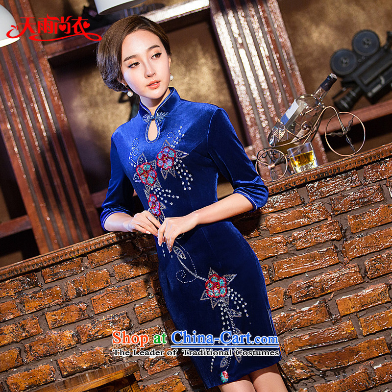 Rain Coat?2015 autumn is new larger video thin retro improved daily girls short-sleeved qipao package and Sau San female dresses QP7131 BLUE?S