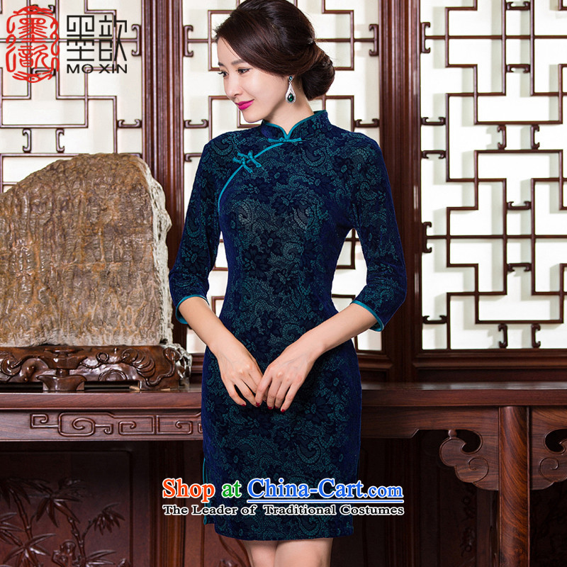 Ink 歆 1644-1911?2015 new qipao kwan chiu replacing retro style in the mother of older qipao cuff velvet cheongsam dress?QD097-99?GREEN?M