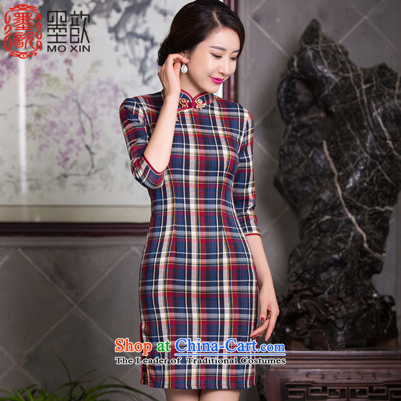 In accordance with the law�2015 ink ? new grid qipao improvement with daily autumn cuff cheongsam dress cheongsam dress�QD100 Stylish retro�latticed�L